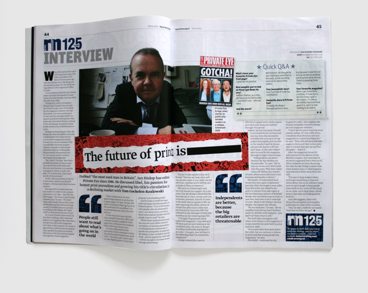 Design & art direction of Retail Newsagent's 125th commemorative issue by Nick McKay. Ian Hislop interview spread