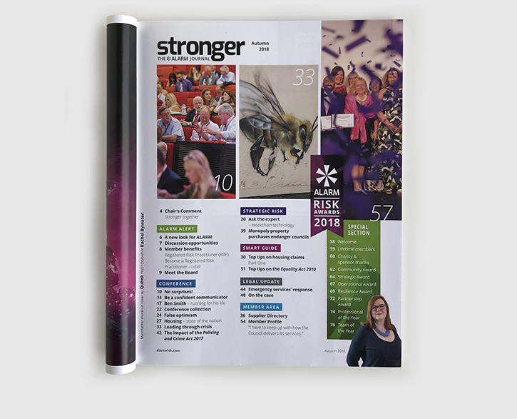 Design & art direction of Stronger magazine, the ALARM Journal by Nick McKay. Contents.