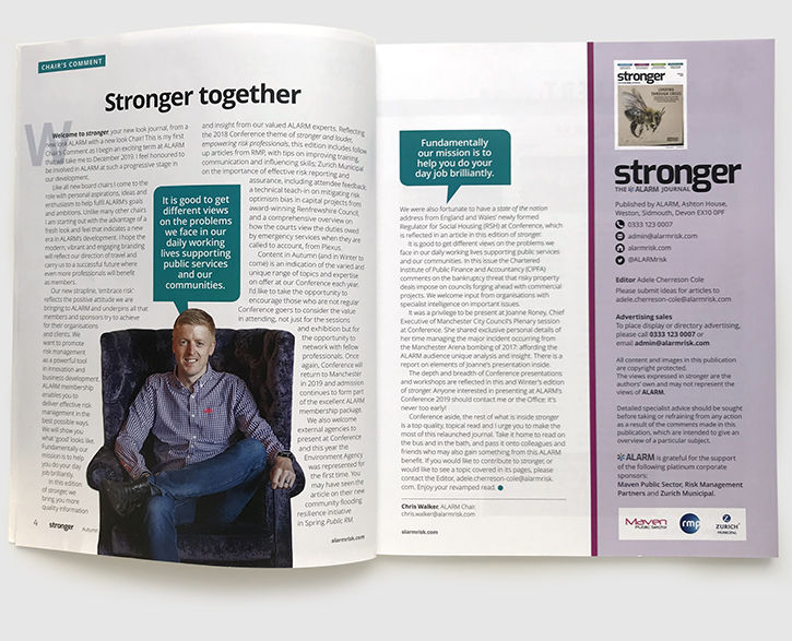 Design & art direction of Stronger magazine, the ALARM Journal by Nick McKay. Editorial.