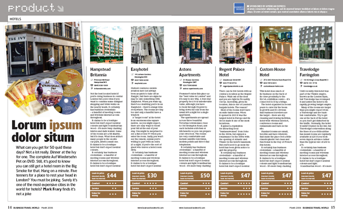 Redesign of Business Travel World magazine for EMAP by Nick McKay. Data spread