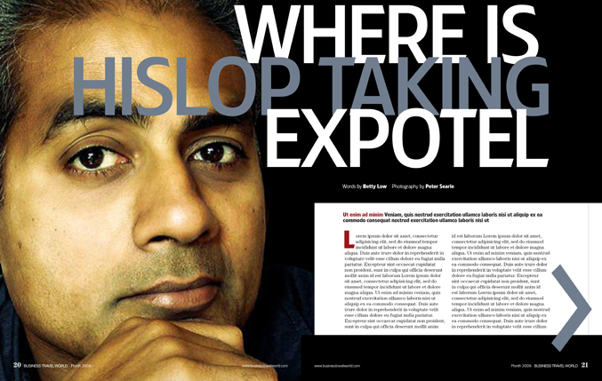 Redesign of Business Travel World magazine for EMAP by Nick McKay. Interview spread