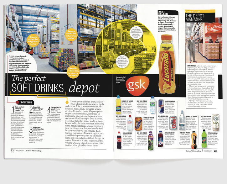 Design & art direction for a new launch magazine for Newtrade Publishing by Nick McKay. Inside spread