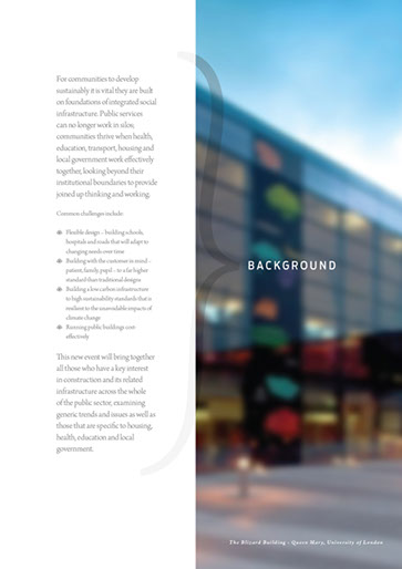 Design & art direction of a promotional brochure for a building conference for EMAP by Nick McKay. Page 2