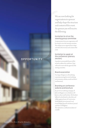 Design & art direction of a promotional brochure for a building conference for EMAP by Nick McKay. Page 5