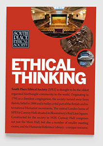 Branding, design & art direction of promotional brochure for South Place Ethical Society by Nick McKay. Cover design