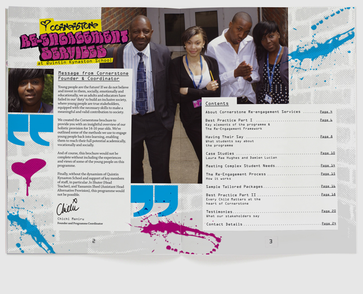 Branding, design & art direction of brochure for Quintin Kynaston School re-engagement programme by Nick McKay. Page 2-3