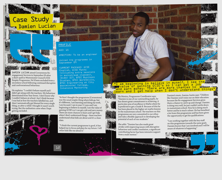 Branding, design & art direction of brochure for Quintin Kynaston School re-engagement programme by Nick McKay. Page 12-13