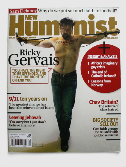 Design & art direction of New Humanist magazine by Nick McKay. Ricky Gervais cover
