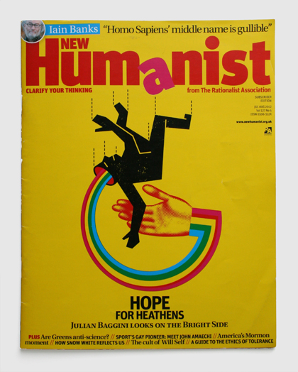 Design & art direction of New Humanist magazine by Nick McKay, hope for heathens cover