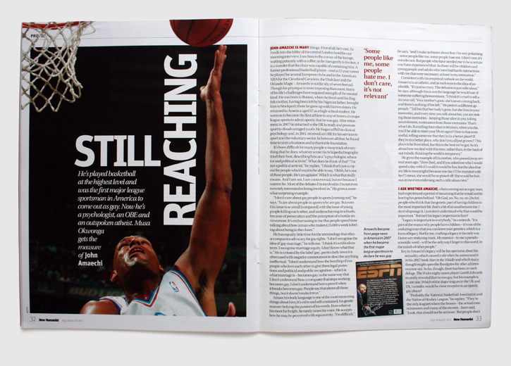 Design & art direction of New Humanist magazine by Nick McKay, feature on John Amaechi