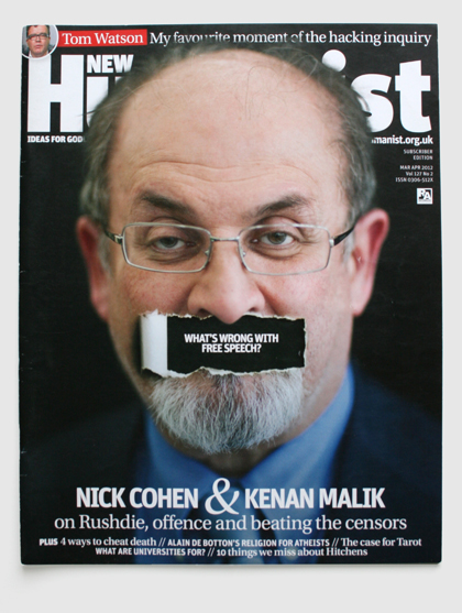 Design & art direction of New Humanist magazine by Nick McKay, free speech cover