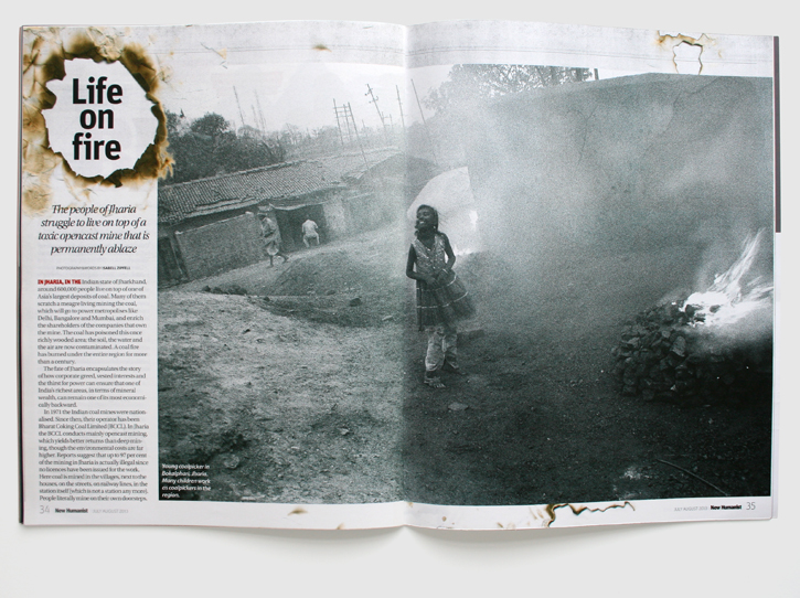 Design & art direction of New Humanist magazine by Nick McKay, Jharia feature spread