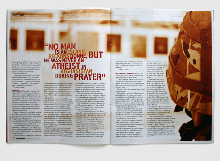 Design & art direction of New Humanist magazine by Nick McKay, Chris Holden feature spread