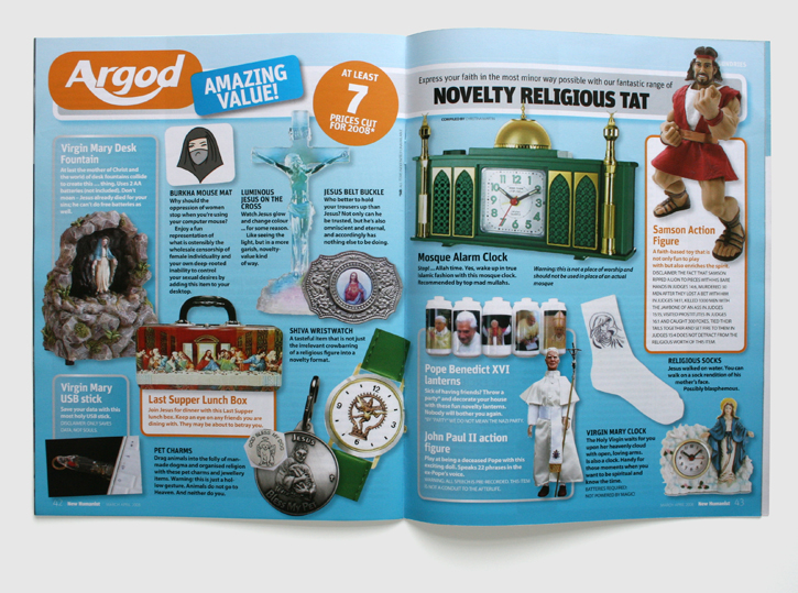 Design & art direction of New Humanist magazine by Nick McKay, religious tat feature