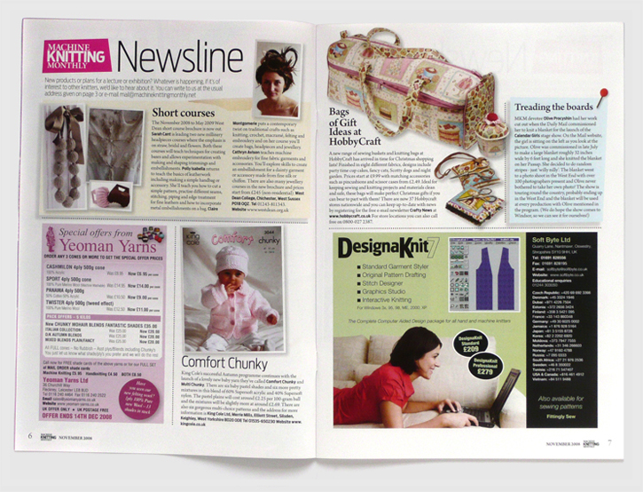 Redesign of Machine Knitting Monthly magazine by Nick McKay. Newsline spread