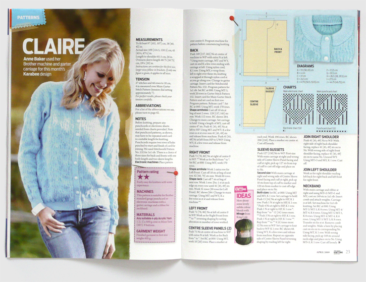 Redesign of Machine Knitting Monthly magazine by Nick McKay. Pattern spread claire