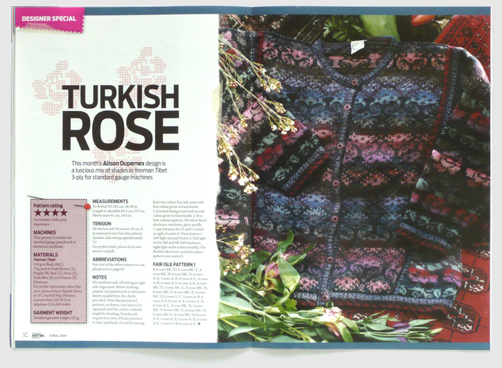 Redesign of Machine Knitting Monthly magazine by Nick McKay. Turkish rose pattern spread