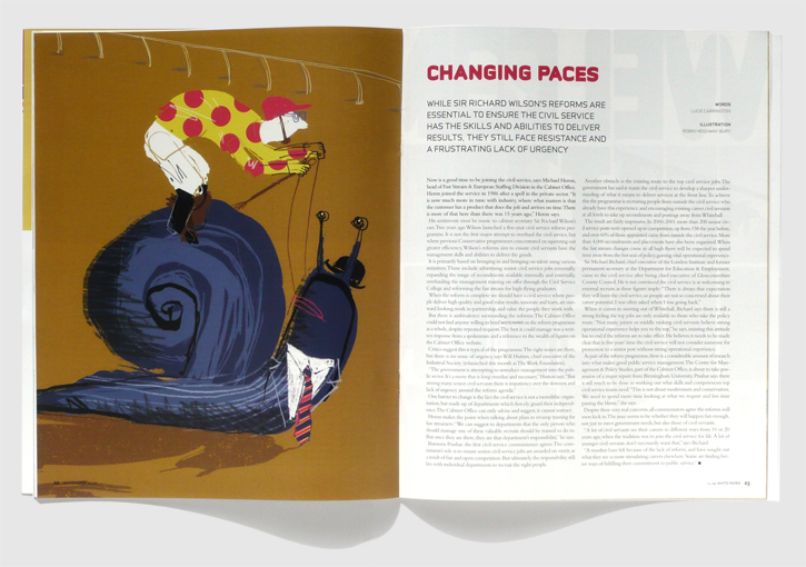 Design & art direction of Whitepaper magazine by Nick McKay. Shortlisted for Best Designed Business Magazine at the MDA. Changing paces feature.