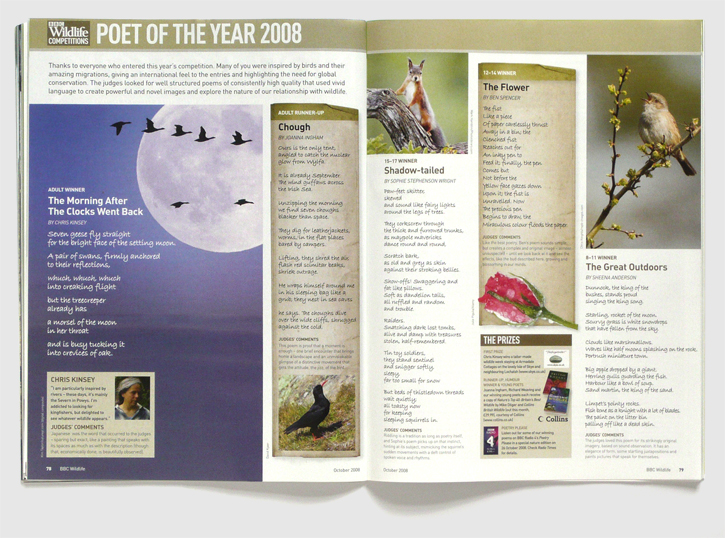 Design for BBC Wildlife magazine by Nick McKay, competition spread