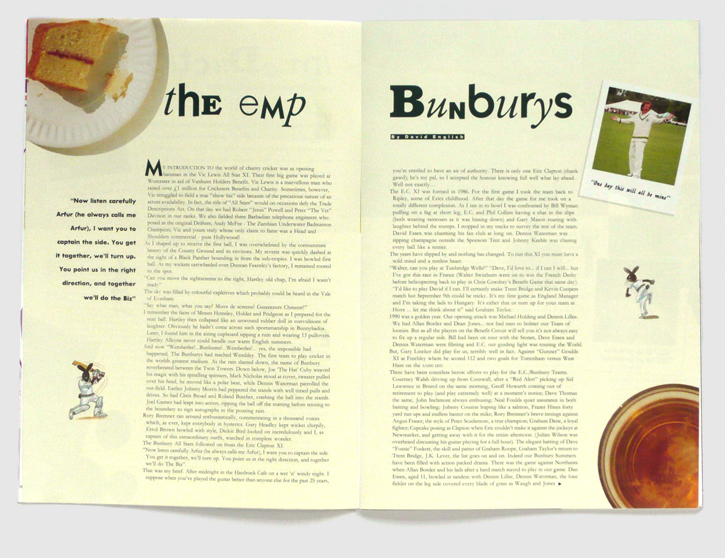Design & art direction of a brochure for the Bunbury Cricket Club by Nick McKay, inside spread