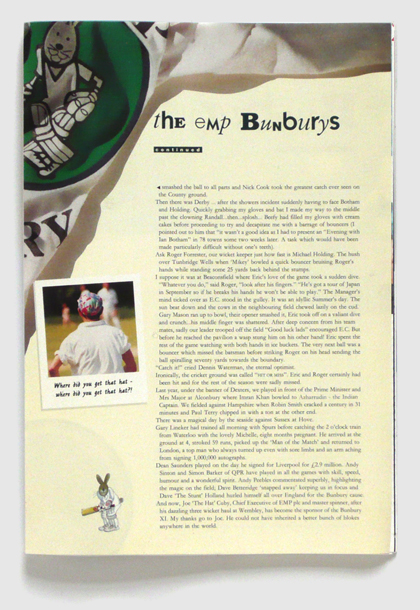 Design & art direction of a brochure for the Bunbury Cricket Club by Nick McKay, single page