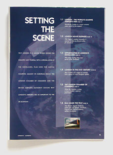Design & art direction of a promotional publication for London's Airport Authority by Nick McKay, page 9
