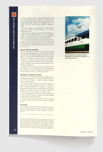 Design & art direction of a promotional publication for London's Airport Authority by Nick McKay, page 14