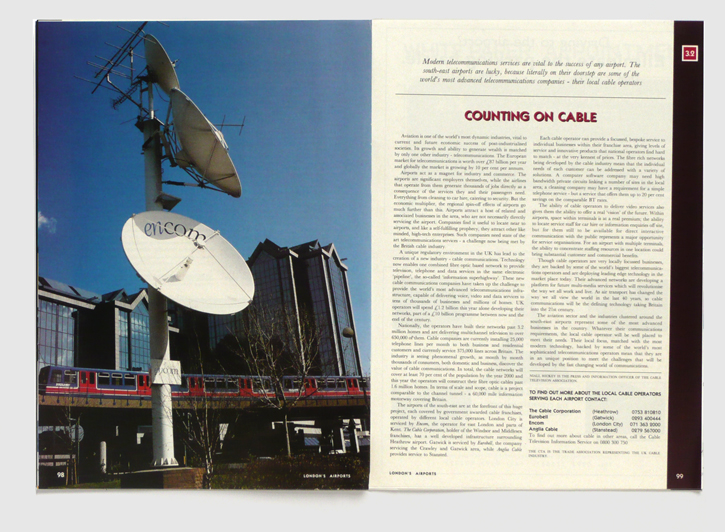Design & art direction of a promotional publication for London's Airport Authority by Nick McKay, page 98-99
