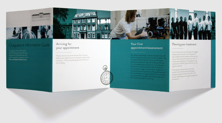 Design & art direction for leaflet for the Royal Buckinghamshire Hospital by Nick McKay, consertina first side