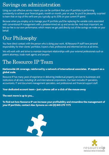 Design & art direction of a promotional brochure for Resource IP by Nick McKay, page 4
